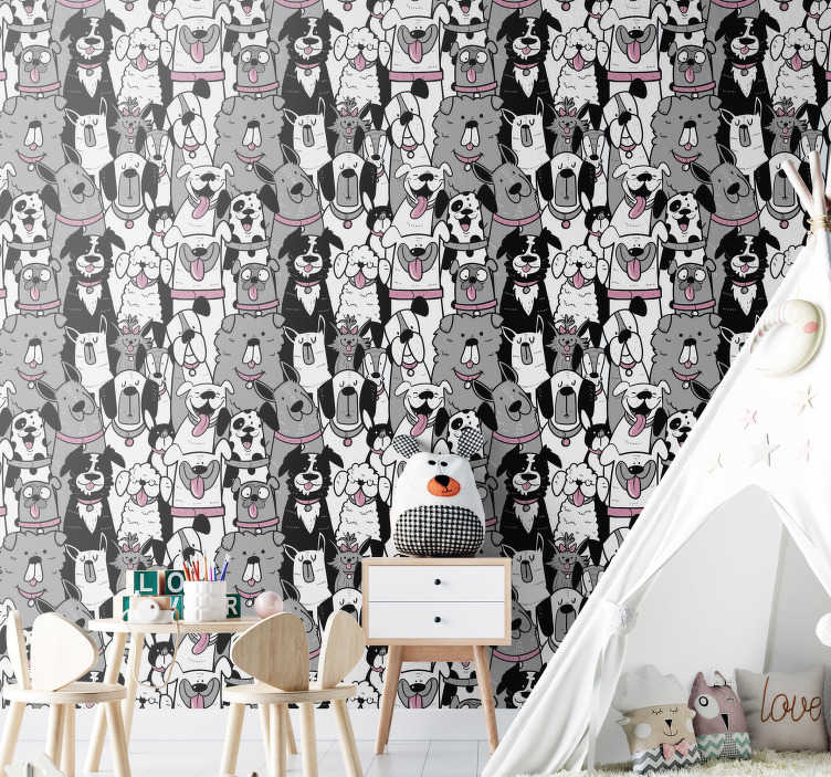 TenStickers. Dog Contours Kids Wallpaper. Animal wallpaper full of cute dogs will be perfect for your children's rooms. Register to get a 10% discount on your order!