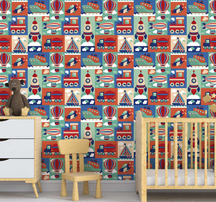 TenStickers. Tapeta dla dzieci różne pojazdy. Spraw, aby Twoje dzieci były zadowolone z tej kolorowej tapety do sypialni dla dzieci z różnego rodzaju pojazdami. Wysoka jakość i matowe wykończenie!