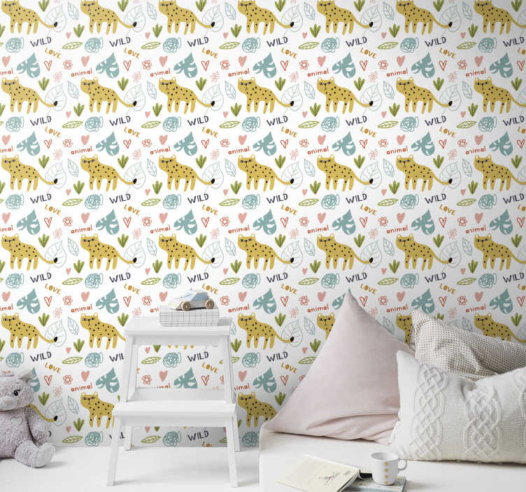 TenStickers. Jungle for Kids Wallpaper. Create a neat atmosphere full of joy and smiles with this childrens room wallpaper. High quality material and matte finishing.