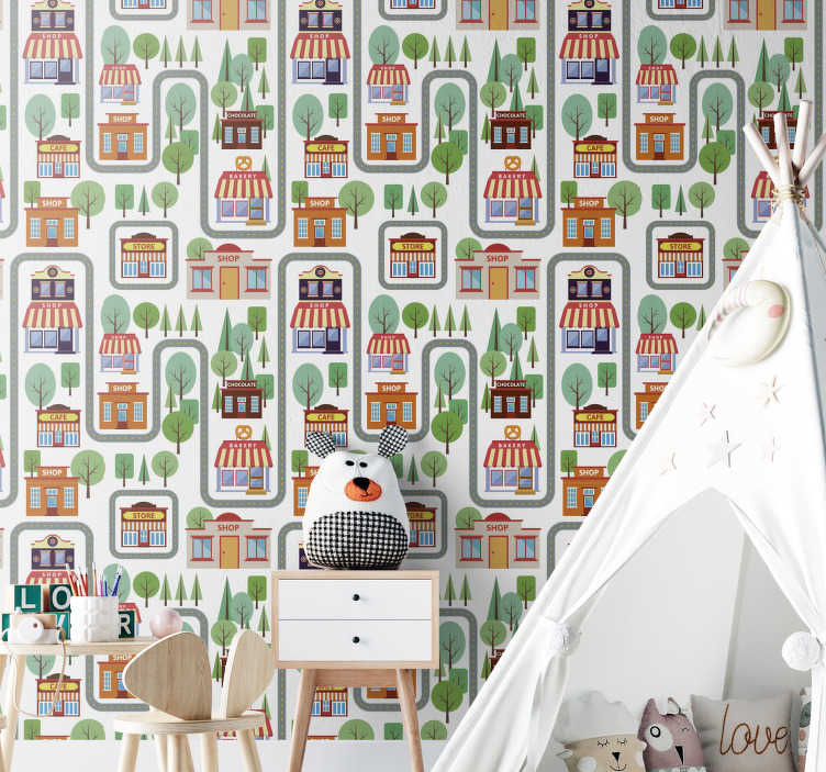 TenStickers. Kid's Village Bedroom Wallpaper. Beautiful kids wallpaper with a village full of trees, shops, cafes, chocolate stores and many more. Register to get a 10% discount.