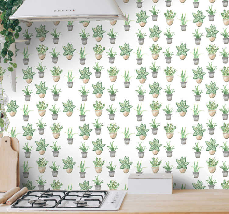 TenStickers. Private garden Kitchen Wallpaper. Order those minimalistic flower wallpapers to redecorate your kitchen in a stylish way. All equipment available on the website.