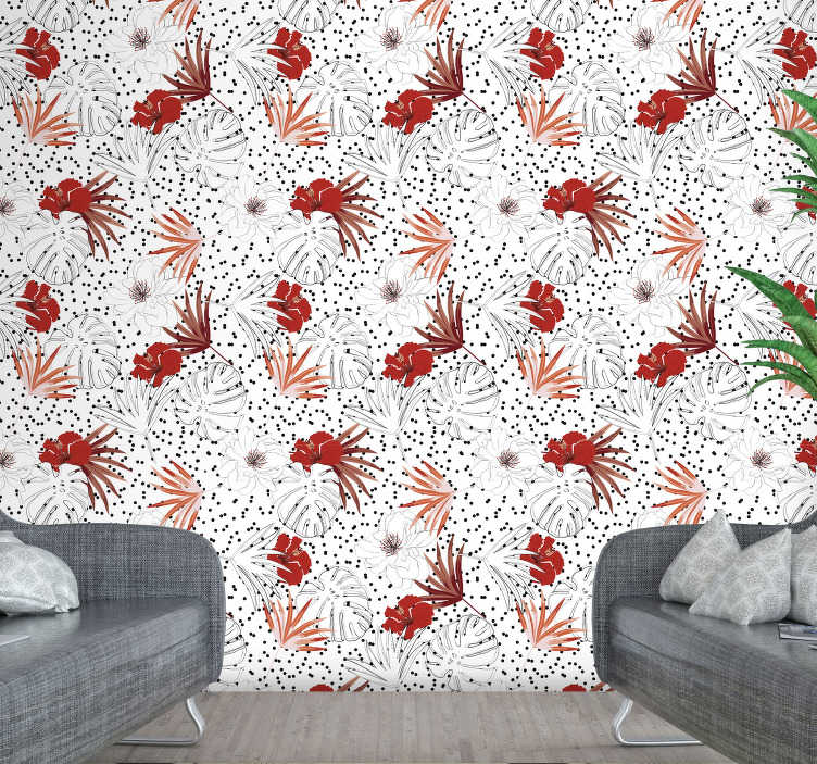 TenStickers. Watercolour palms and leaves Nature Wallpaper. Fall in love with this flower wallpaper that will make you forget about white, boring walls in a matter of few seconds. High quality!