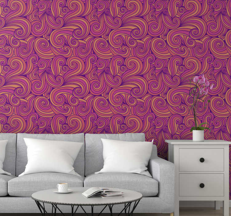 TenStickers. Wavy sunset Living Room Wallpaper. High quality living room wallpaper with the design of wavy lines in a colour of sunset that will fill you with coziness and warmth. High quality!