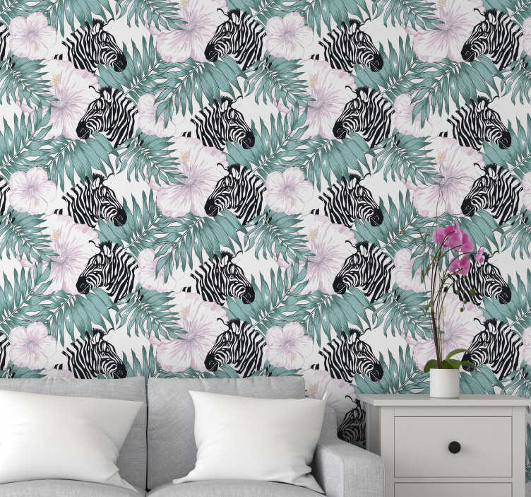 TenStickers. Zebra in the garden Nature Wallpaper. Find a zebra hiding on this forest wallpaper behind beautiful flowers and leaves. High quality material with an application kit available, too.