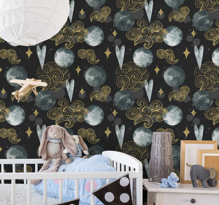 TenStickers. Watercolour Night Bedroom Wallpaper. Order those spectacular bedroom wallpaper that will be just perfect for your children's room. Application kit available on the website!