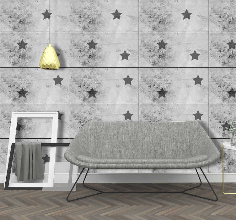 TenStickers. Wallpaper Concrete Stars. Look at those modern living room wallpapers! Aren't they amazing? It seems like the stars are floating in your room, transforming it in a unique place