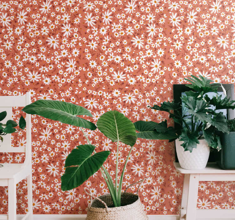 TenStickers. 70's daisy pattern Nature Wallpaper. High quality living room wallpaper is a vintage representation of daisies on a coral background. Clear instruction attached to every product we send!