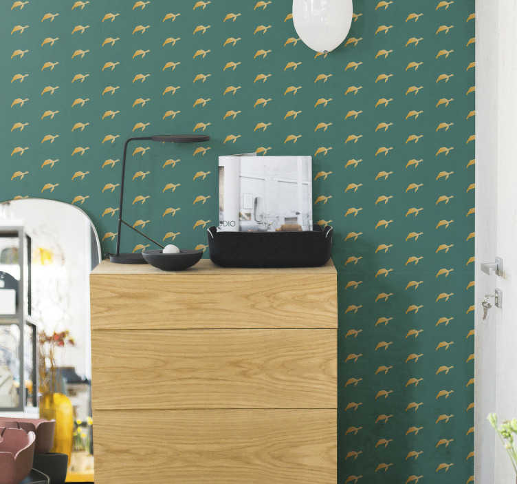 TenStickers. Geometric turtle Bedroom Wallpaper. Magnificent animal wallpaper with a minimalist pattern of yellow geometric turtles in a green background. The perfect complement for bedrooms.