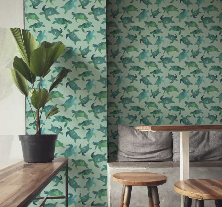 TenStickers. Green turtles Living Room Wallpaper. Decorate your home with this fantastic animal wallpaper with a pattern of many geometric turtles in green and blue shades.