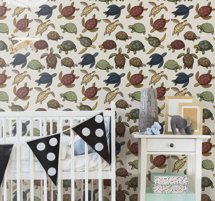 TenStickers. Variety of turtles Bedroom Wallpaper. Decorate your kid's bedroom with this fantastic animal wallpaper with a pattern of many turtles in different colors with a vintage touch.