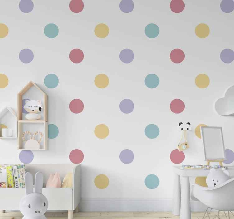 TenStickers. Colorful confetti Moon Wallpaper. this circle pattern wallpaper with pastel color circles in a white background will make the perfect decor for your baby's nursery.