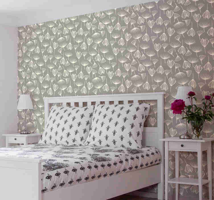 TenVinilo. Papel pintado de flores dientes de león. Con este papel pared dormitorio de flores con un diseño simple de dientes de león dibujados a mano en un fondo gris. Alta calidad ¡Envío a domicilio!