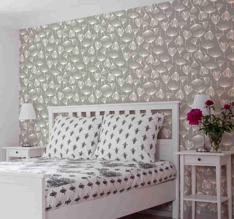 TenStickers. 蒲公英蒲公英卧室壁纸. 有了这个花卉壁纸,在灰色背景下简单设计了手绘蒲公英,您就可以将卧室变成自己的蒲公英草地。