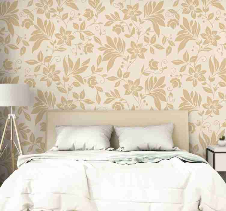 TenStickers. Dream like 70 Beige Wallpaper. Magnificent beige ornamental wallpaper with a delicate and refined floral pattern that will make any room where you place it a luxurious place.