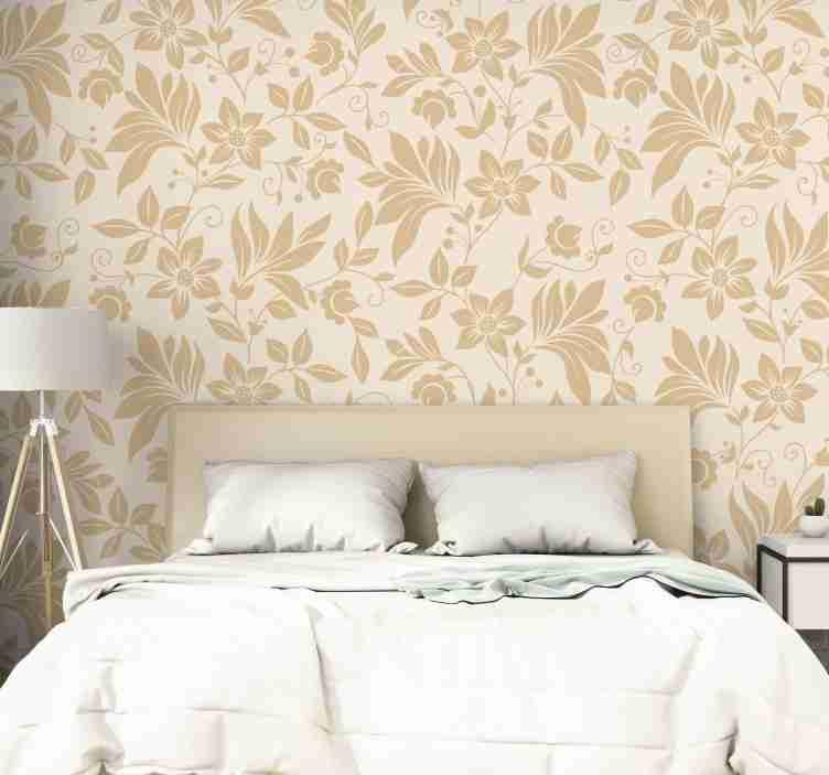 TenStickers. Behang bloemen Droom als 70. Prachtig beige sierbehang met een delicaat en verfijnd bloemmotief dat elke ruimte waar je hem neerzet een luxe plek maakt.