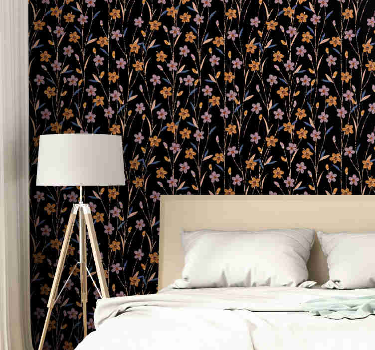 TenStickers. Flower meadow Nature Wallpaper. If you are one of those who like to follow the trends and always have the house well decorated, then this flower wallpaper is perfect for you.