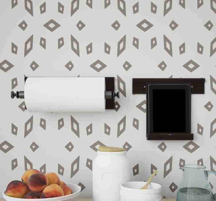 TenStickers. 灰棕色花纹厨房乙烯基壁纸. 如果您喜欢现代风格的装饰,那么这款带有白色背景几何米色图案的现代壁纸正是您所需要的。