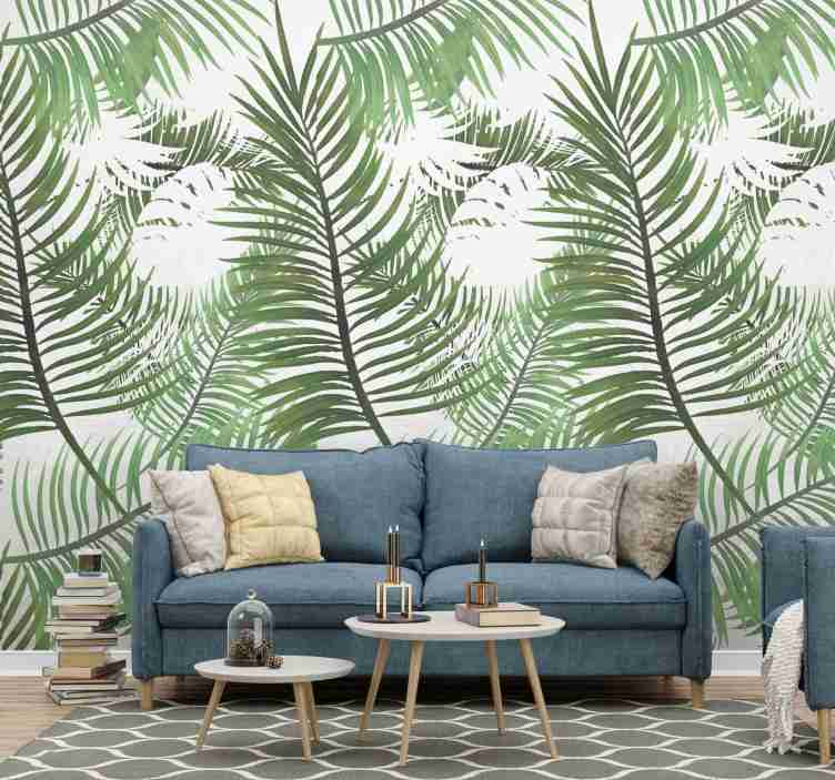 TenStickers. Jungle Nature Wallpaper. Bring a bit of nature to your living room decor with this jungle wallpaper with a pattern of tropical thin leaves. Discounts available.