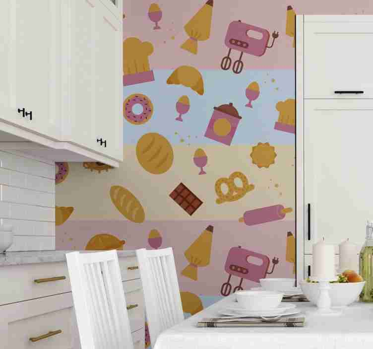 TenStickers. Modern design Kitchen Vinyl Wallpaper. Give your kitchen a fun and modern decor with this spectacular kitchen wallpaper with a colorful pattern of pastries and kitchen appliances.
