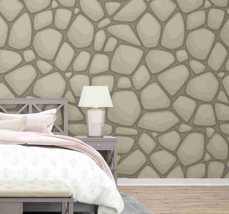 TenStickers. Natural stone beige Textured Wallpaper. With this fantastic stone wallpaper with a pattern of irregular stones in cartoon style, the little ones will love spending more time in their room.