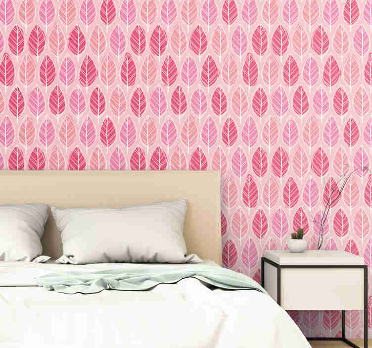 TenStickers. Pink Birkenwald Nature Wallpaper. Fantastic pink patterned wallpaper with a pattern of fun hand drawn leaves in different shades of pink. Discounts available.