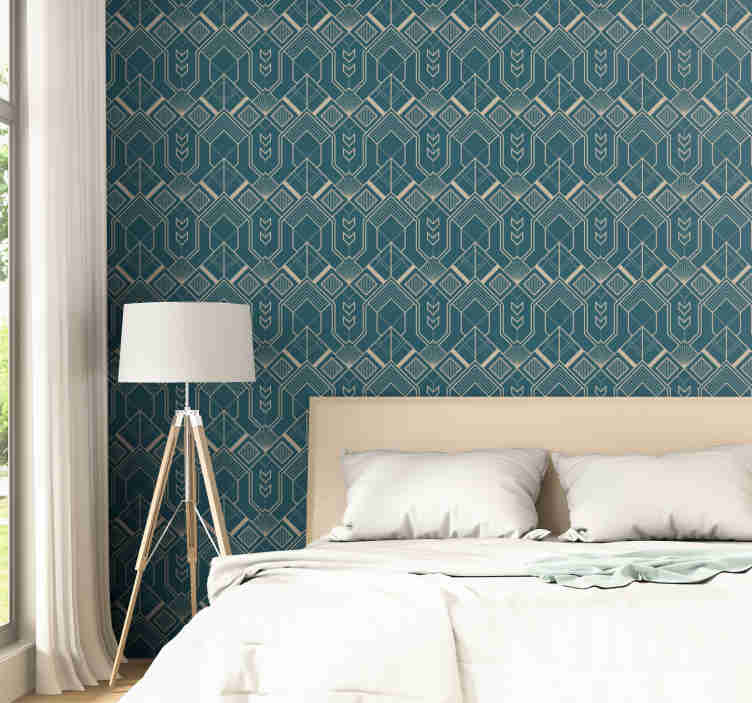 TenStickers. Polygonal Blue Wallpaper. An amazing vintage wallpaper with a pattern of beige polygonal figures in a dark blue background that will fit great in minimalists decors.