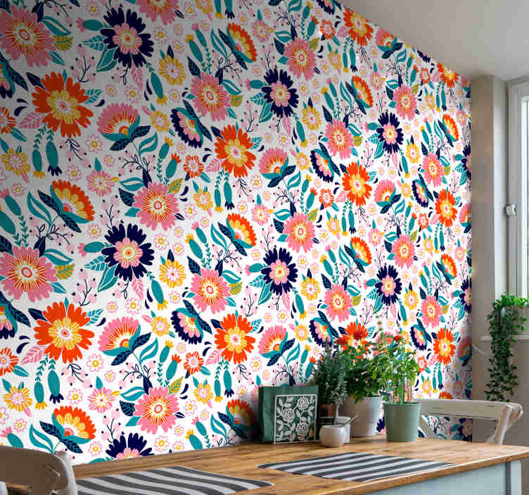 TenStickers. Romantic Flowers Dining Room Wallpaper. Looking for a colorful complement for your home decor? Then, this ornamental wallpaper with a pattern of spring flowers in many different colors.
