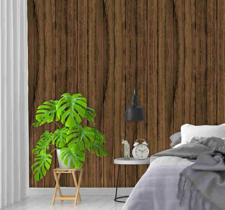 TenStickers. Dark Textured Wallpaper. Amazing wood texture wallpaper with a pattern of strips of irregular dark wood. The perfect decoration for your bedroom.