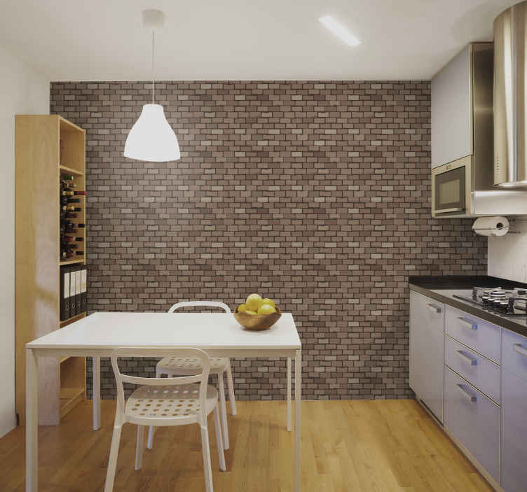 TenStickers. Stone wall texture kitchen  Textured Wallpaper. Looking for that decoration for a kitchen space? here we got you covered with our amazing stone textured kitchen wallpaper.