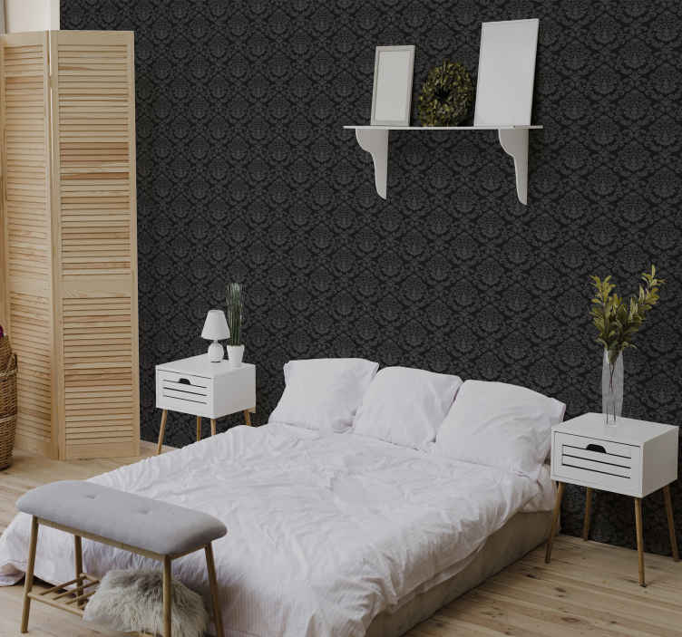 TenStickers. Black wall and figures Bedroom Wallpaper. Black and grey ornamental figures wallpaper to bring a luxury touch on your home space. It is easy to apply and maintain.
