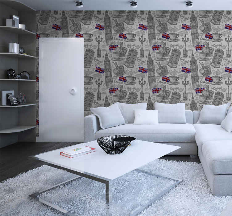 TenStickers. London elements  Vintage Wallpaper. Give your home a classy touch with our original luxury wallpaper with London elements design. It is easy to apply and maintain.