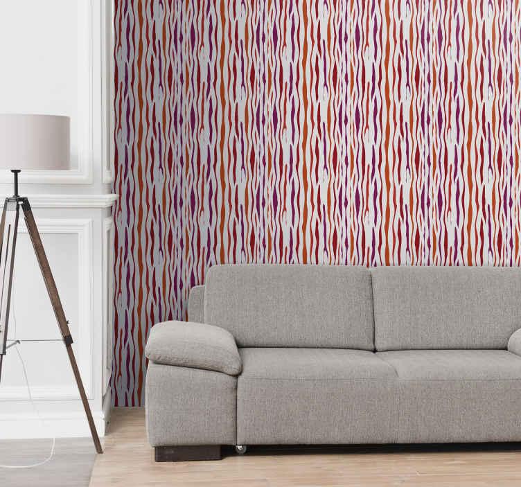 TenStickers. 다른 음영으로 줄무늬 벽지. 멀티 컬러 일관된 줄무늬 디자인의 고급스러운 벽지 장식으로 가정 공간에 적합합니다. 유지 관리가 쉽습니다.