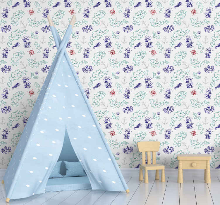 TenStickers. Treasure map kids  Kids Wallpaper. Improve the bedroom space of your kid with lovely and admirable touch in our children treasure map wallpaper design. It is made of high quality.