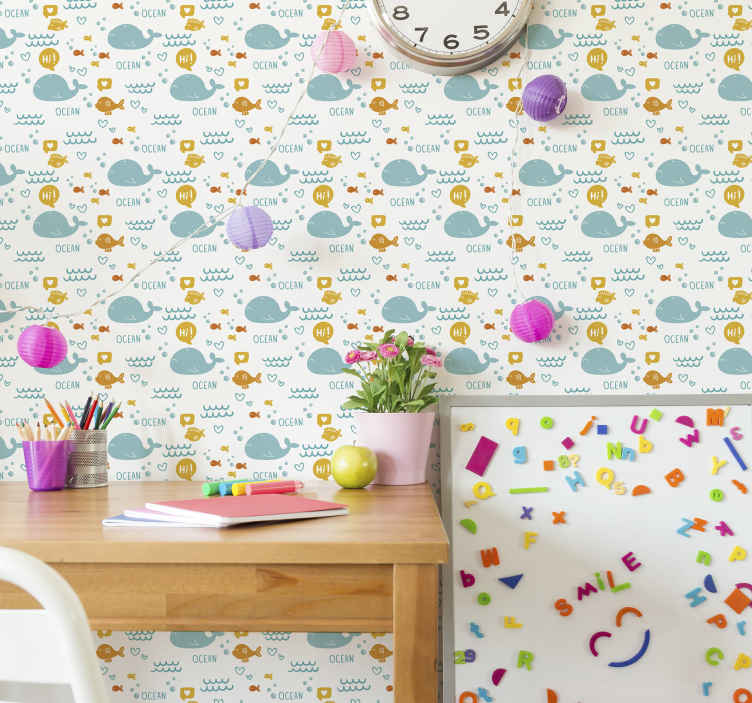 TenStickers. Colorfull and happy ocean Bedroom Wallpaper. Make your home looking amazing with our unique and luxurious fish wallpaper decoration. It is easy to apply and lovely foe any wall space.