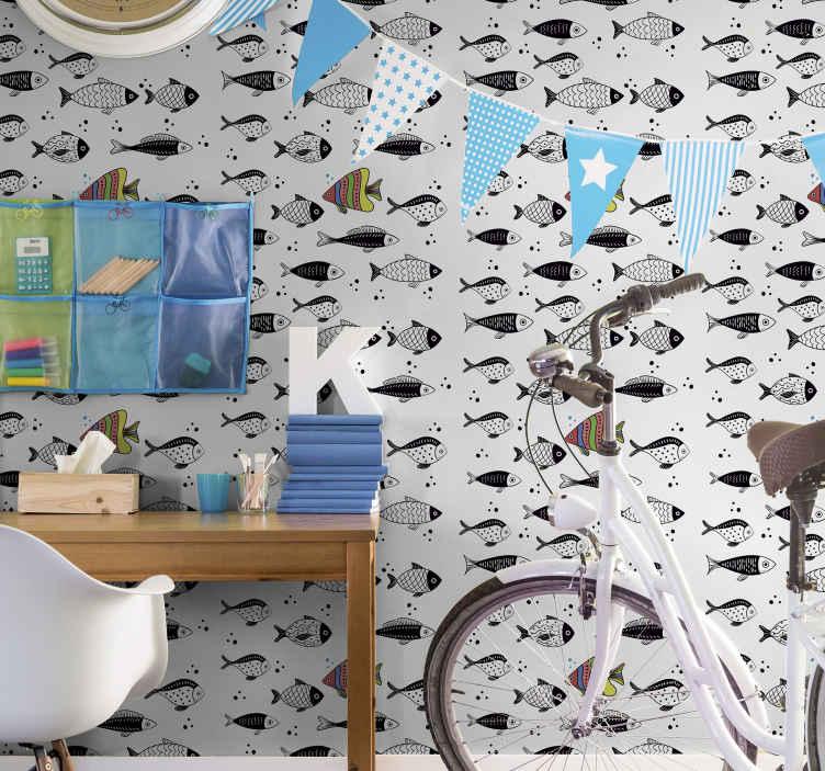 TenStickers. papel de parede animais Contra fluxo. Um papel de parede de peixe projetado com direção bonita e contrária ao fluxo. A aplicação é fácil e é agradável em qualquer espaço.