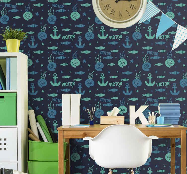 TenVinilo. Papel pintado dormitorio pez y ancla bajo el mar. Decoración de papel pintado dormitorio con peces y decoración de anclaje para el dormitorio de su hijo. Alta calidad ¡Envío a domicilio!