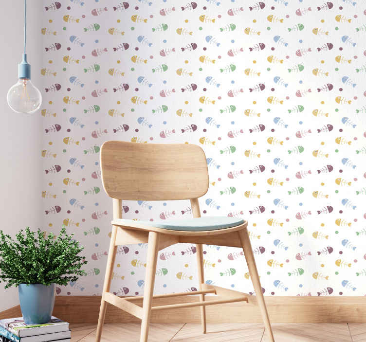 TenStickers. Fish-bones Bedroom Wallpaper. Children bedroom wallpaper with colorful fish bones design An amazing design to create a pleasing and excellent space for kid.