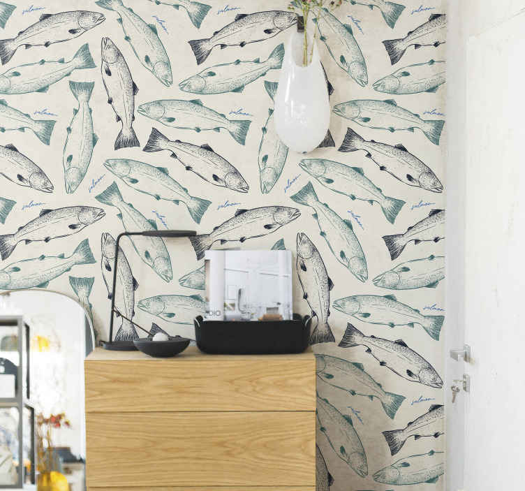 TenStickers. Salmon fish Bedroom Wallpaper. A fish patterned wallpaper featured with multiple prints of salmon fish to create a lovely space in a home any any space of choice.