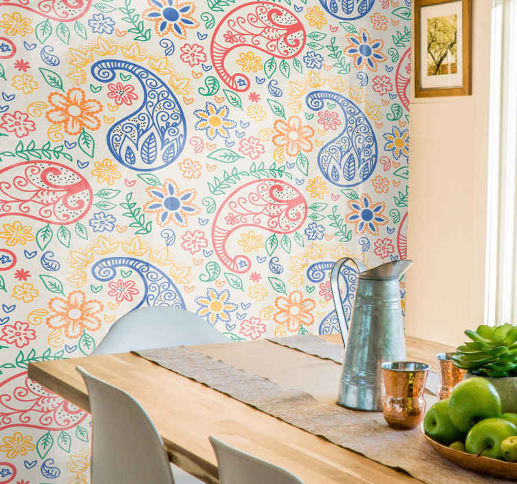 TenStickers. Colorful paisley Kitchen Wallpaper. Buy our original multi coloured ornamental wallpaper made from high quality material. It is easy to apply and very durable.