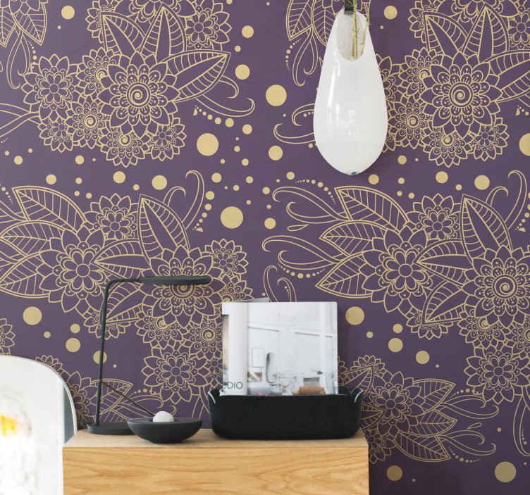 TenStickers. Floral paisley corner Bedroom Wallpaper. Give your living room space a new lease of life in our decorative and luxurious wallpaper with ornamental design. Easy to apply