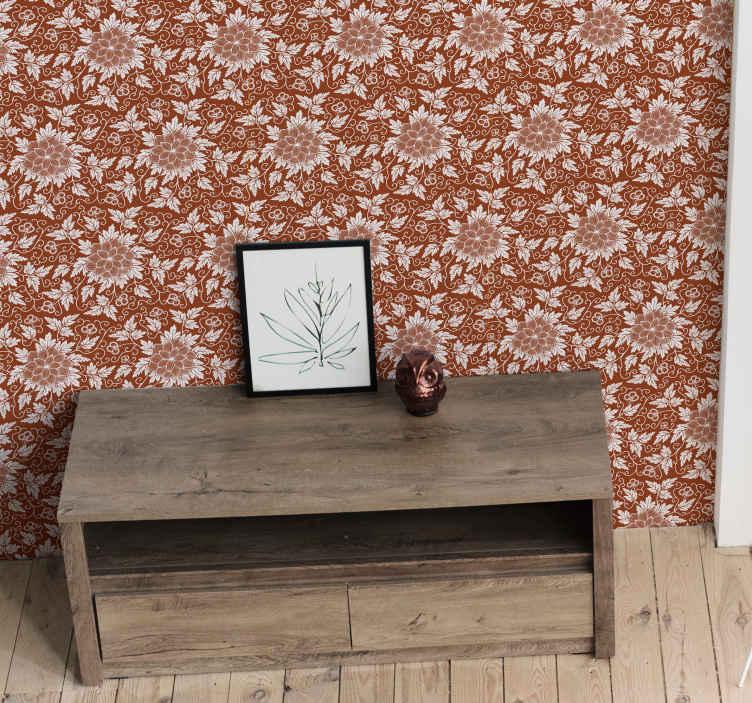 TenStickers. 꽃 페이즐리 타일 복도 벽지. 비닐 벽지는 놀라운 이국적인 효과로 집을 아름답게합니다. 이 디자인은 거실, 복도 및 침실 공간에 이상적입니다.
