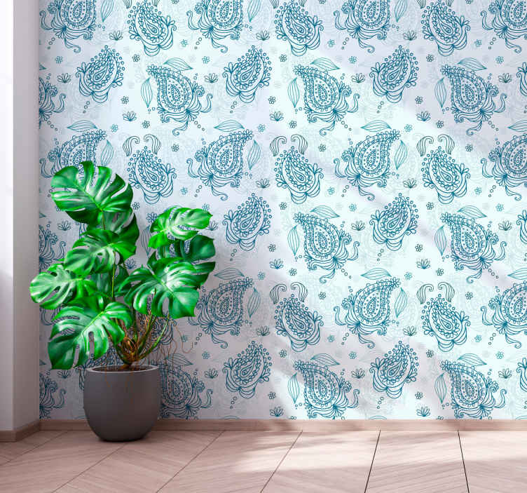 TenStickers. Floral paisley Living Room Wallpaper.  Floral paisley ornamental wallpaper to decorate your wall space.The design is created with paisley prints on in green background.