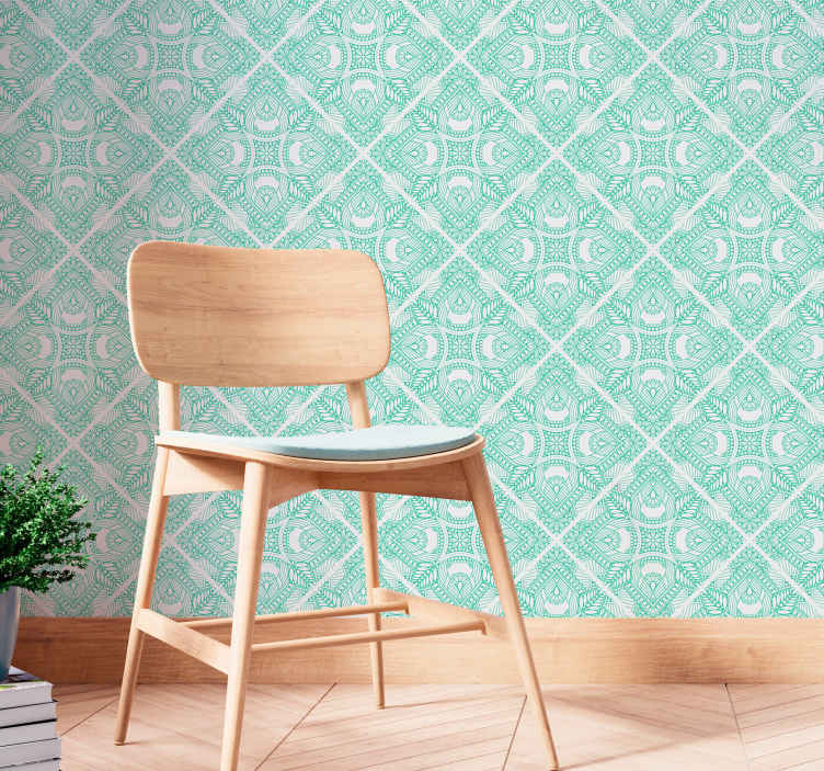 TenStickers. Ornamental draw  Tile Wallpaper. Decorate your wall space in our amazing vintage wallpaper made with ornamental paisley design in  green and white colour.