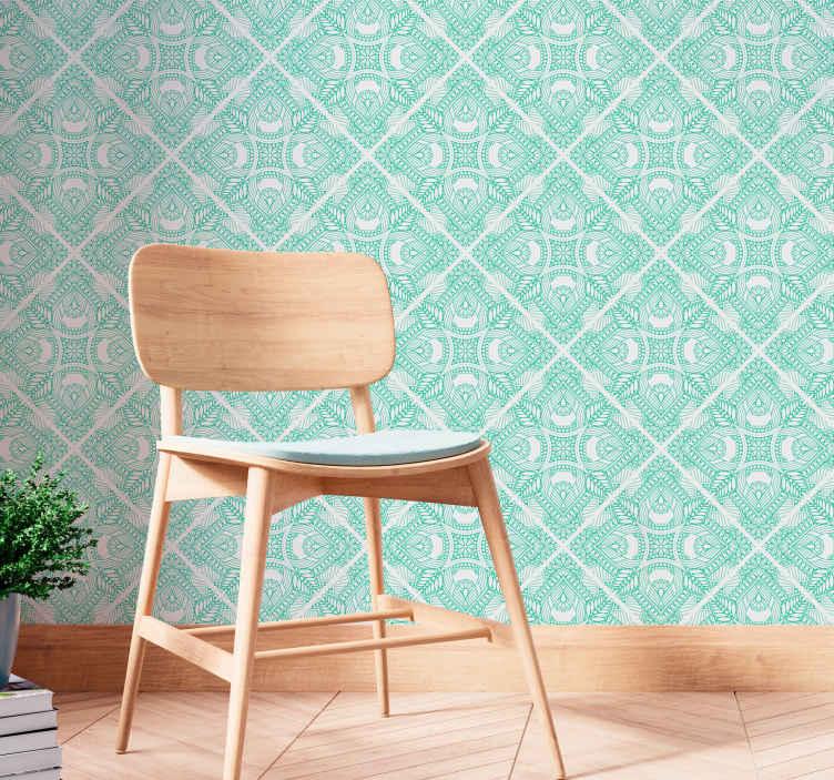 TenStickers. Díszítő felhívni csempe háttérkép. Díszítse a falteret csodálatos vintage tapétainkkal, díszes paisley kivitelben, zöld és fehér színben.