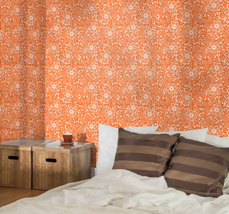 TenStickers. Paisley Flowers Bedroom Wallpaper. A just perfect room wallpaper to bring colour and bright energy to a bedroom space. It is made with the best of quality material.