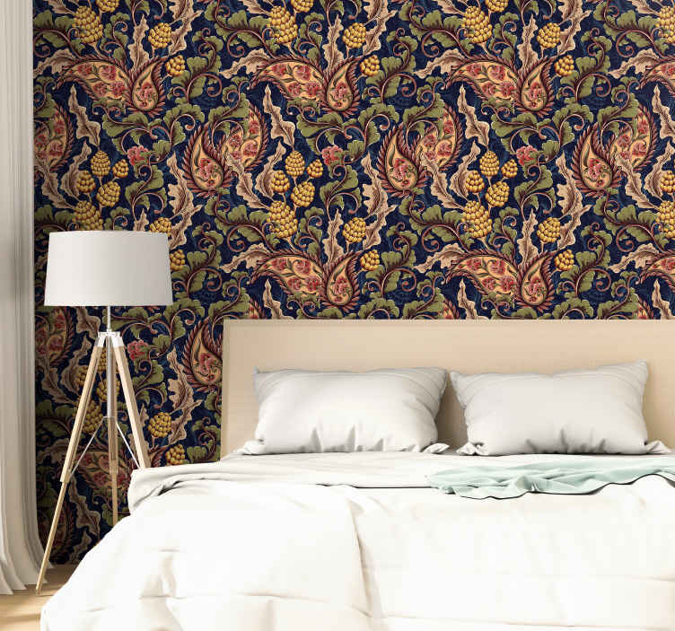 TenStickers. Realistic Paisley Illustration Bedroom Wallpaper. Cover the bedroom space or any other space in the house with our realistic paisley colorful wallpaper. It is of good quality and easy to apply.
