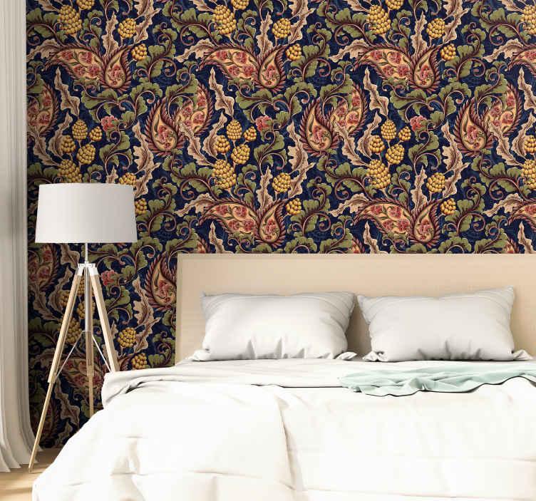 Tenstickers. Realistinen paisley kuva tapetti makuuhuoneeseen. Peitä makuuhuone tai muu talon tila realistisella paisley tapetti kanssa. Se on laadukas ja helppo levittää sileälle pinnalle.