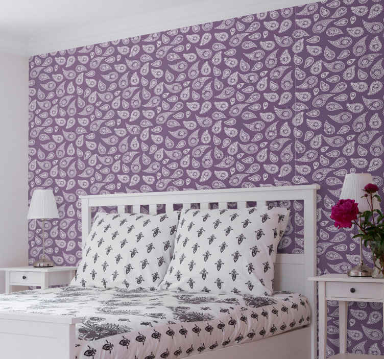 TenStickers. Retro paisley Bedroom Wallpaper. An amazing retro ornamental paisley wallpaper to glam a bedroom space in style. It is original, durable and easy to apply.