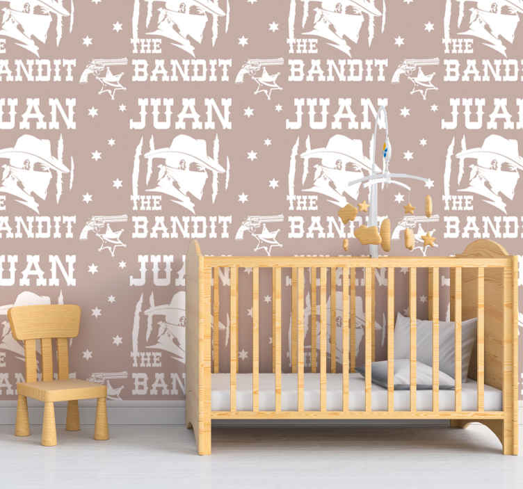 TenStickers. Bandit with name Childrens Wallpaper. An iconic featured vinyl wallpaper with the design of a bandit. It is customisable in any name of choice. The product is made with good quality.