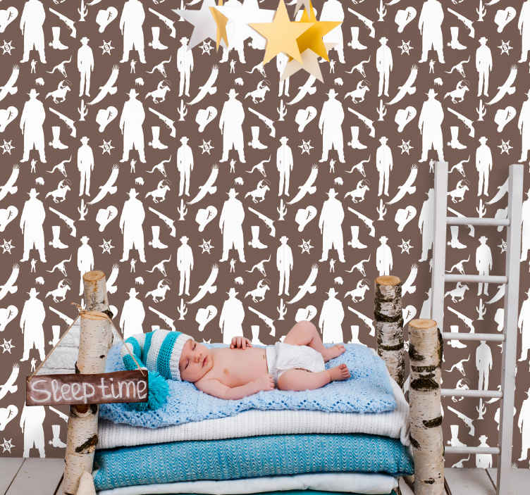 TenStickers. Cowboy and horses pattern Childrens Wallpaper. Beautiful wallpaper roll with cowboy featured design to decorate the bedroom space of children. It is made with high quality material.
